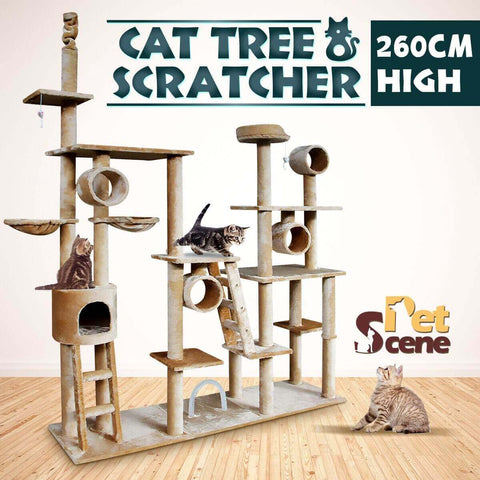 Image of Pet Scene Multi Level Cat Gym Play Centre Tree 190 x 50 x 260cm with Pet Cats