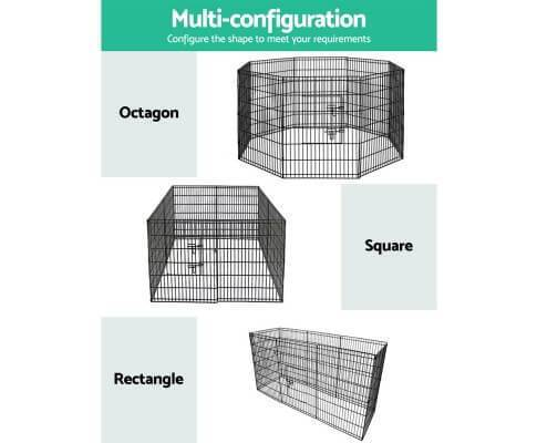 Multi Configuration  8 Panel Powder Coated Steel Dog Puppy Cage