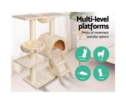 Image of Multi Level Beige Platform Cat Scratching Perching and Climbing Cat Tree