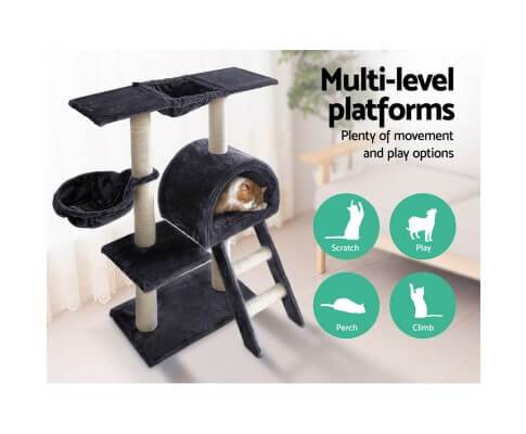 Multi Level Dark Grey Platform Cat Scratching Perching and Climbing Cat Tree