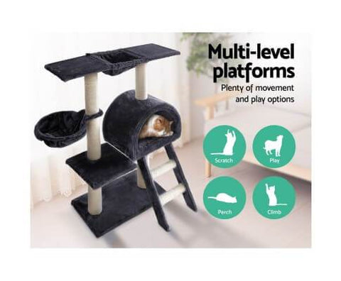Image of Multi Level Dark Grey Platform Cat Scratching Perching and Climbing Cat Tree