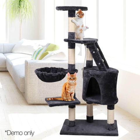 Image of Multi Platform Cat Plush Tower Condo with Cubby Hole