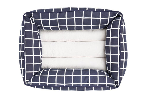 Image of Mog_and_Bone_Bolster_Dog_Bed_Navy_Check_TOP