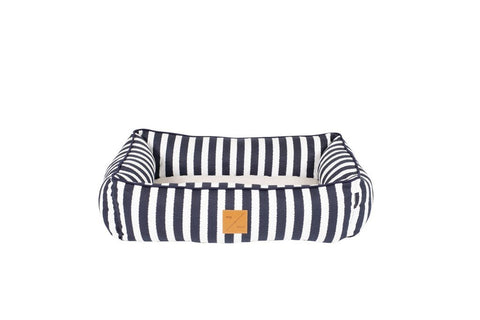 Image of Mog_and_Bone_Bolster_Dog_Bed_Navy_Hamptons_Stripe_4