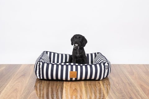 Image of Mog_and_Bone_Bolster_Dog_Bed_Navy_Hamptons_Stripe_6