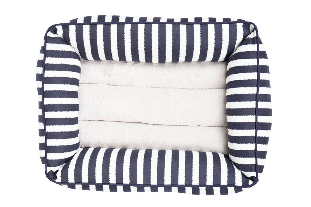 Mog_and_Bone_Bolster_Dog_Bed_Navy_Hamptons_Stripe_TOP