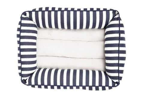 Image of Mog_and_Bone_Bolster_Dog_Bed_Navy_Hamptons_Stripe_TOP
