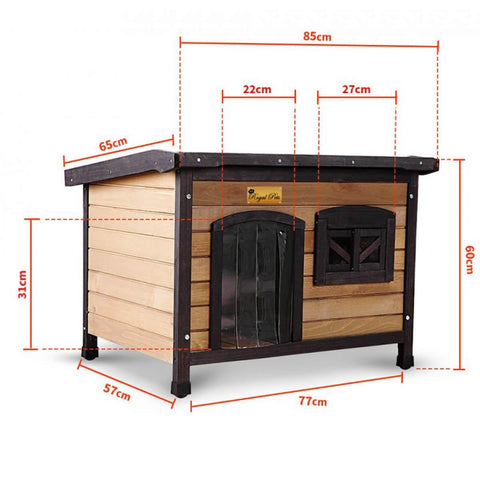 Image of New Royal Pet Dog Timber House Kennel Wooden Home Product Dimensions