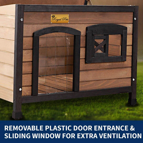 Image of New Royal Pet Dog Timber House Kennel Wooden Home Removable Plastic Door Entance Sliding Window