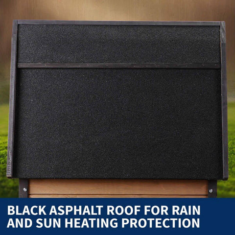 Image of New Royal Pet Dog Timber House Kennel Wooden Home with Black Asphalt Roof for Rain and Sun Heating Protection