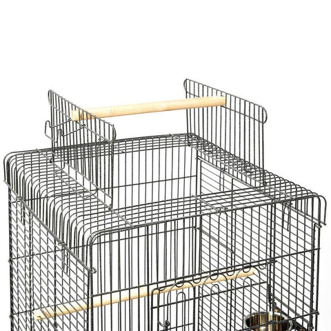 Image of Open Roof Top Design Black Cage for Pet Bird