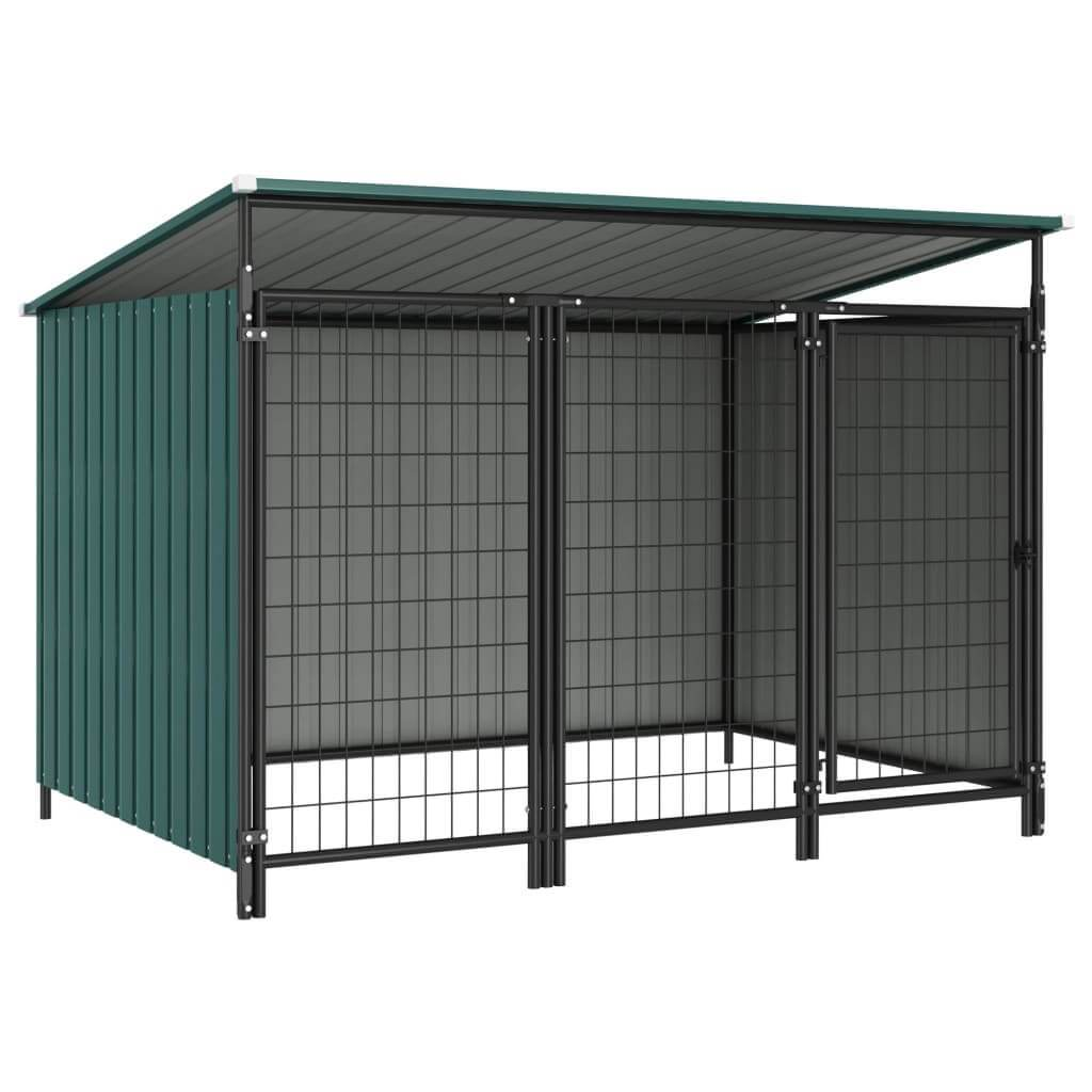 Outdoor Dog Kennel 193 x 133 x 113 cm Green Everyday Pets