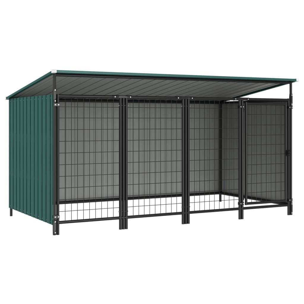 Outdoor Dog Kennel 253 x 133 x 113 cm Green Everyday Pets
