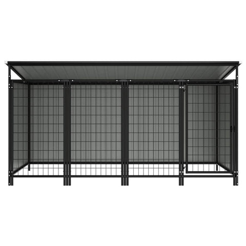 Image of Outdoor Dog Kennel Chain Link Mesh Anthracite Everyday Pets