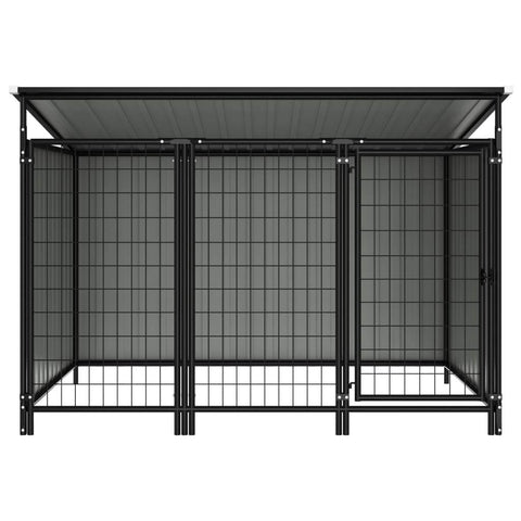 Image of Outdoor Dog Kennel Chain Link Mesh Sidewalls Anthracite Everyday Pets