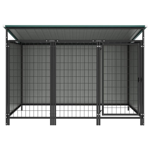Image of Outdoor Dog Kennel Chain Link Mesh Sidewall Green Everyday Pets
