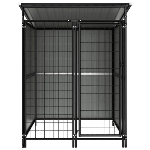 Image of Outdoor Dog Kennel Anthracite Front View Everyday Pets