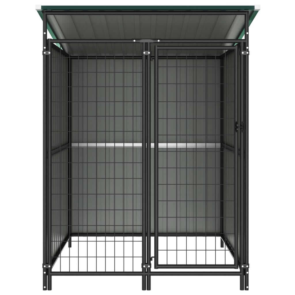 Outdoor Dog Kennel Green Front View Everyday Pets