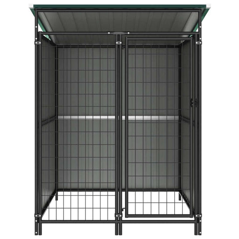 Image of Outdoor Dog Kennel Green Front View Everyday Pets