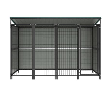 Image of Outdoor Dog Kennel Green with Steel Bar Walls Everyday Pets