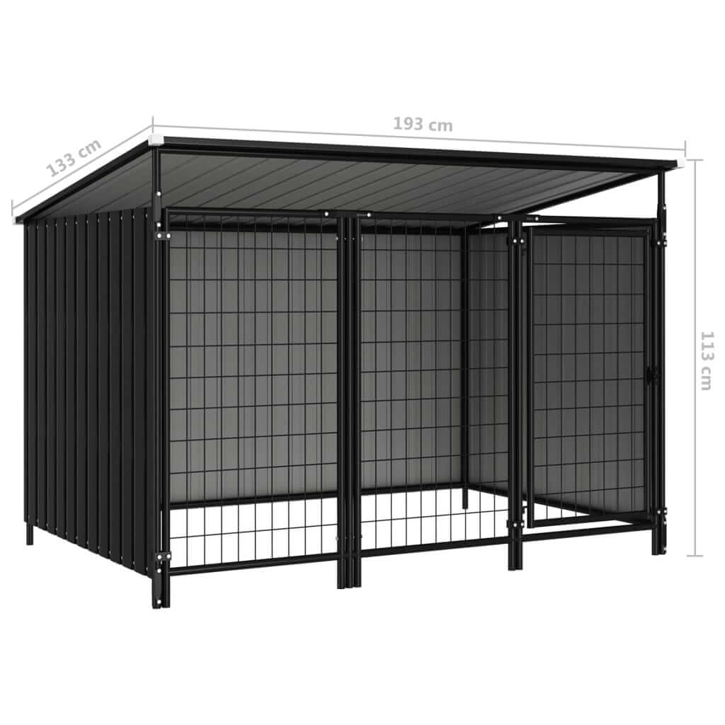 Outdoor Dog Kennel Measurement and Diameter Anthracite Everyday Pets