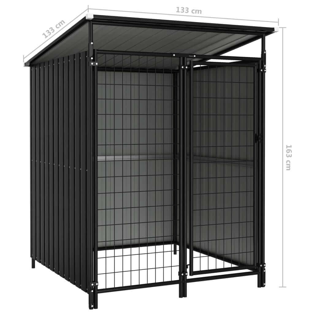 Outdoor Dog Kennel Anthracite Measurement and Dimension Everyday Pets