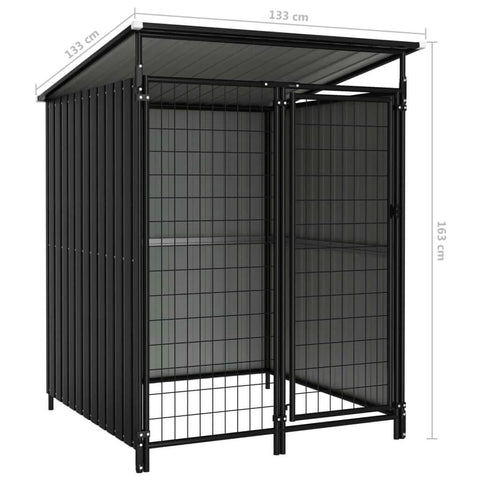 Image of Outdoor Dog Kennel Anthracite Measurement and Dimension Everyday Pets