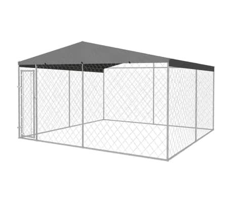 Outdoor Dog Kennel with Roof 4x4x2.4 m Everyday Pets