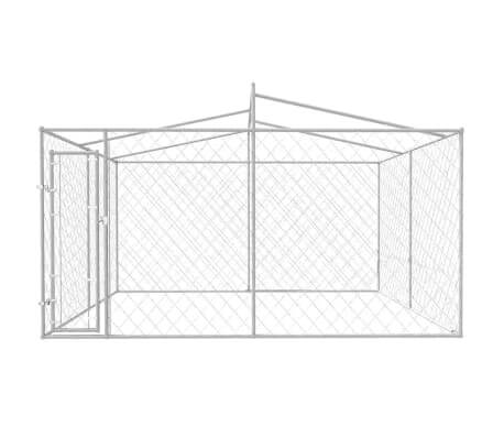Image of Outdoor Dog Kennel with Roof Chain Link Mesh Sidewalls Everyday Pets