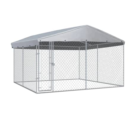 Outdoor Dog Kennel with Roof 3.8x3.8 m Everyday Pets