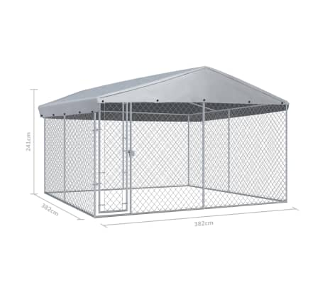 Image of Outdoor Dog Kennel with Roof Measurement and Diameter Everyday Pets