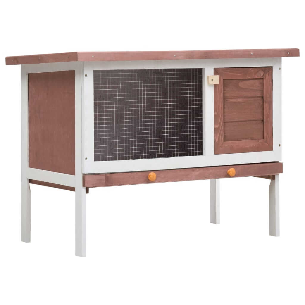 Outdoor Rabbit Hutch 1 Layer Brown and White Wood Everyday Pets