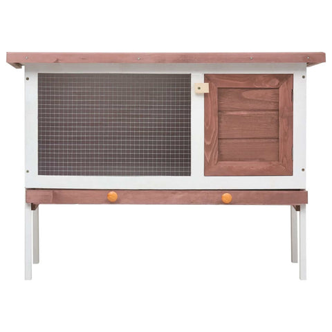 Image of Outdoor Rabbit Hutch 1 Layer Brown and White Wood Wooden Rabbit Cage Everyday Pets