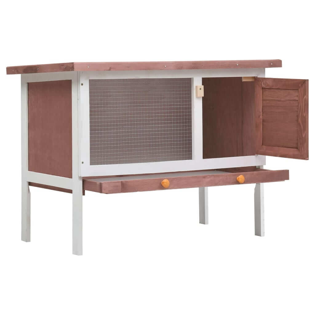 Outdoor Rabbit Hutch 1 Layer Brown and White Wood High Quality Solid Pine Wood Frame Rabbit Hutch Everyday Pets