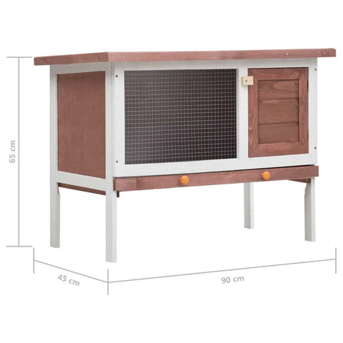 Image of Outdoor Rabbit Hutch 1 Layer Brown and White Wood Product Dimension Everyday Pets