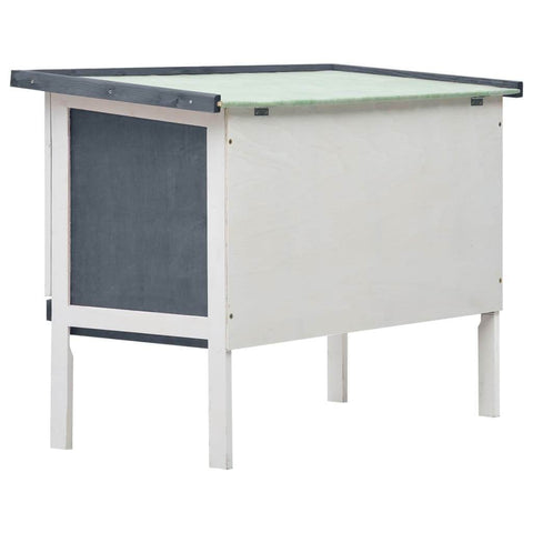 Image of Outdoor Rabbit Hutch 1 Layer Grey and White Wood Easy to Assemble Rabbit Hutch Everyday Pets