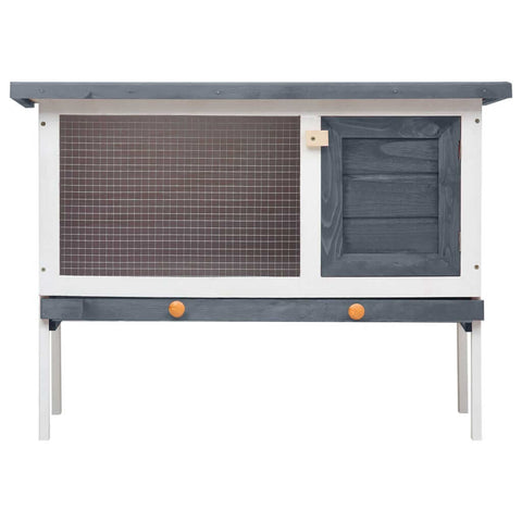 Image of Outdoor Rabbit Hutch 1 Layer Grey and White Wood Wooden Rabbit Cage Everyday Pets