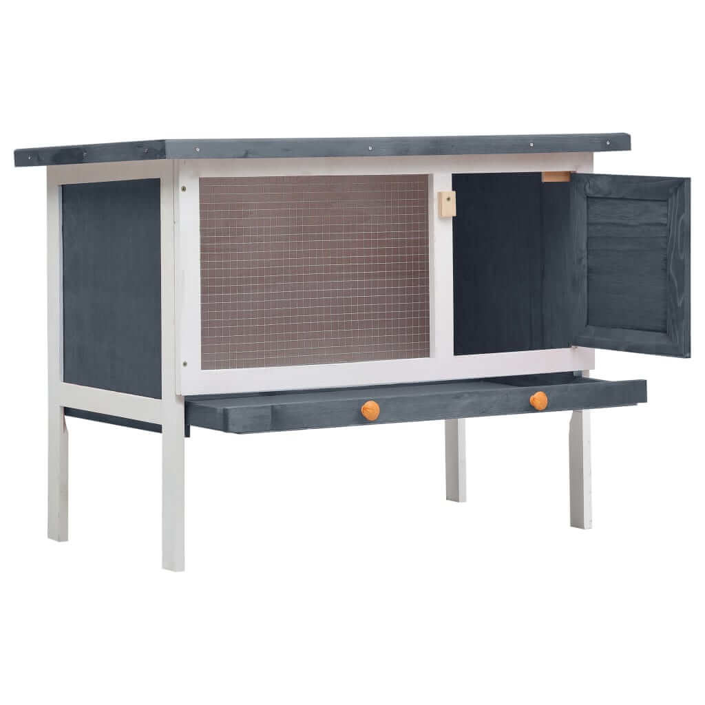 Outdoor Rabbit Hutch 1 Layer Grey and White Wood High Quality Solid Pine Wood Frame Rabbit Hutch Everyday Pets