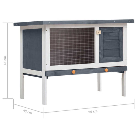 Image of Outdoor Rabbit Hutch 1 Layer Grey and White Wood Product Dimension Everyday Pets