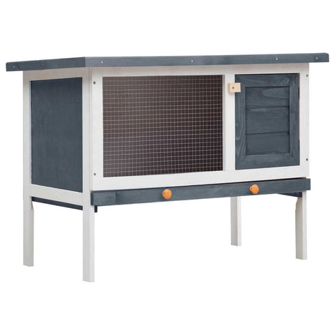 Image of Outdoor Rabbit Hutch 1 Layer Grey and White Wood Everyday Pets