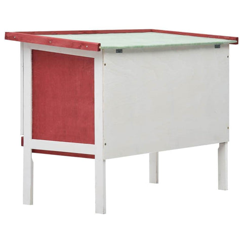 Image of Outdoor Rabbit Hutch 1 Layer Red and White Wood Easy to Assemble Rabbit Hutch Everyday Pets