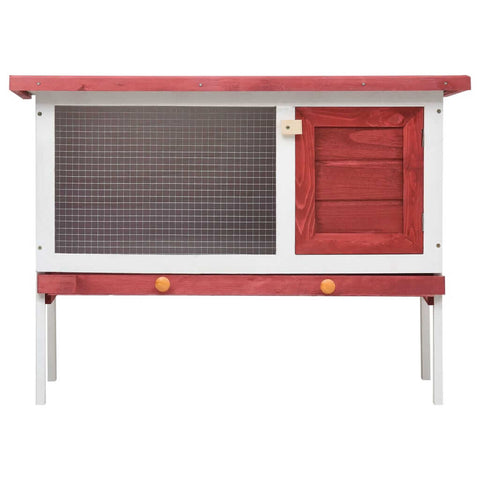 Image of Outdoor Rabbit Hutch 1 Layer Red and White Wood Wooden Rabbit Cage Everyday Pets