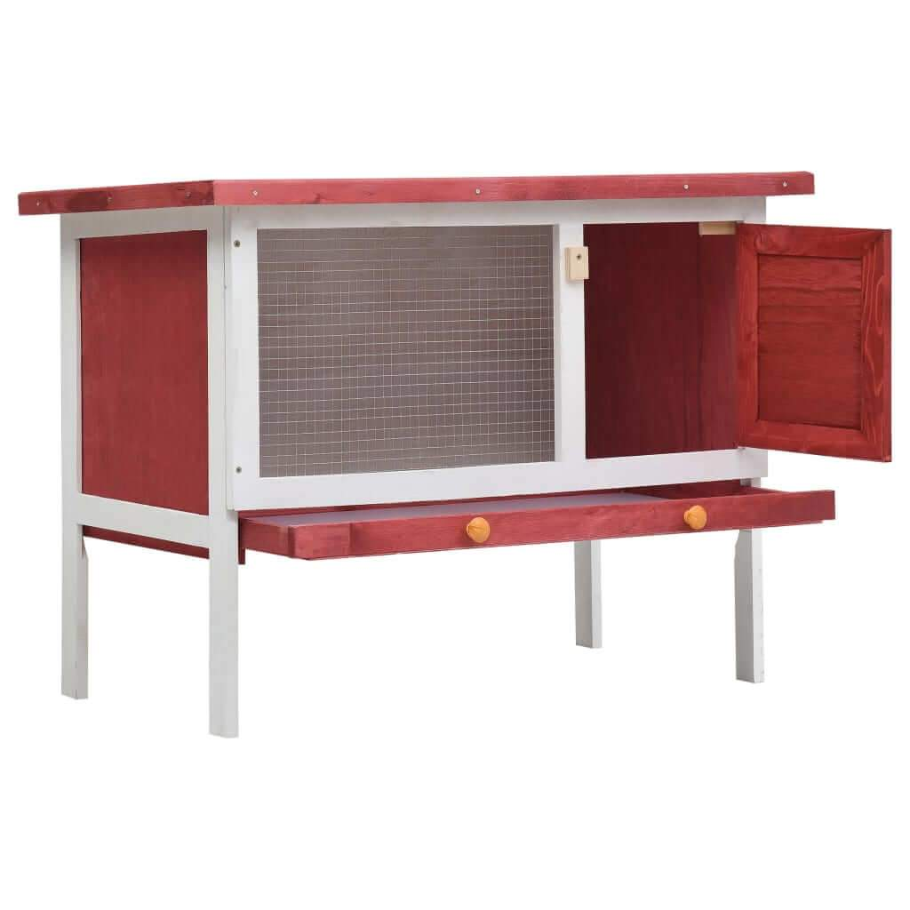 Outdoor Rabbit Hutch 1 Layer Red and White Wood High Quality Solid Pine Wood Frame Rabbit Hutch Everyday Pets