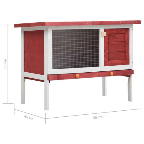 Image of Outdoor Rabbit Hutch 1 Layer Red and White Wood Product Dimension Everyday Pets