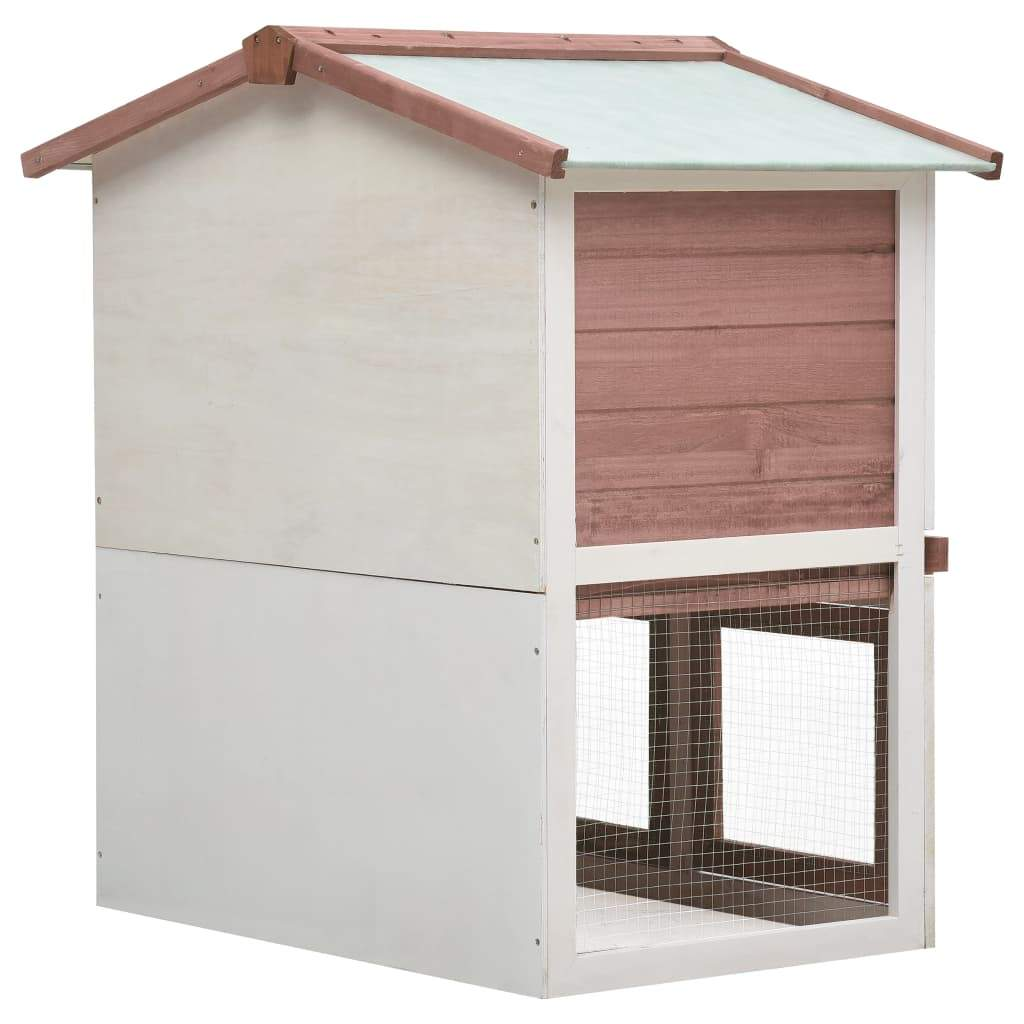 Outdoor Rabbit Hutch 3 Doors Brown Wood Easy to Assembly Everyday Pets