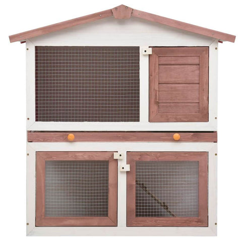Image of Outdoor Rabbit Hutch 3 Doors Brown Wood High Quality Solid Pine Wood Frame Everyday Pets