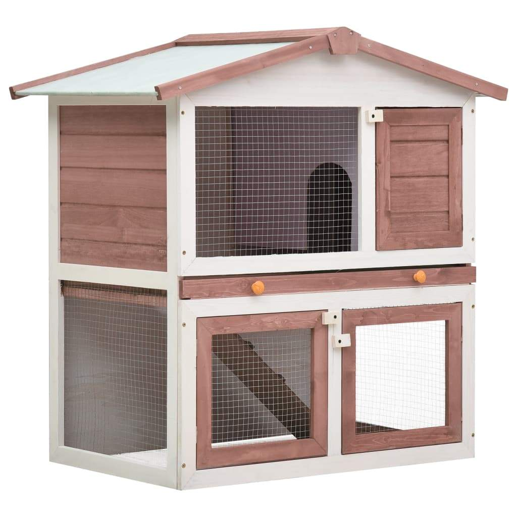 Outdoor Rabbit Hutch 3 Doors Brown Wood Everyday Pets