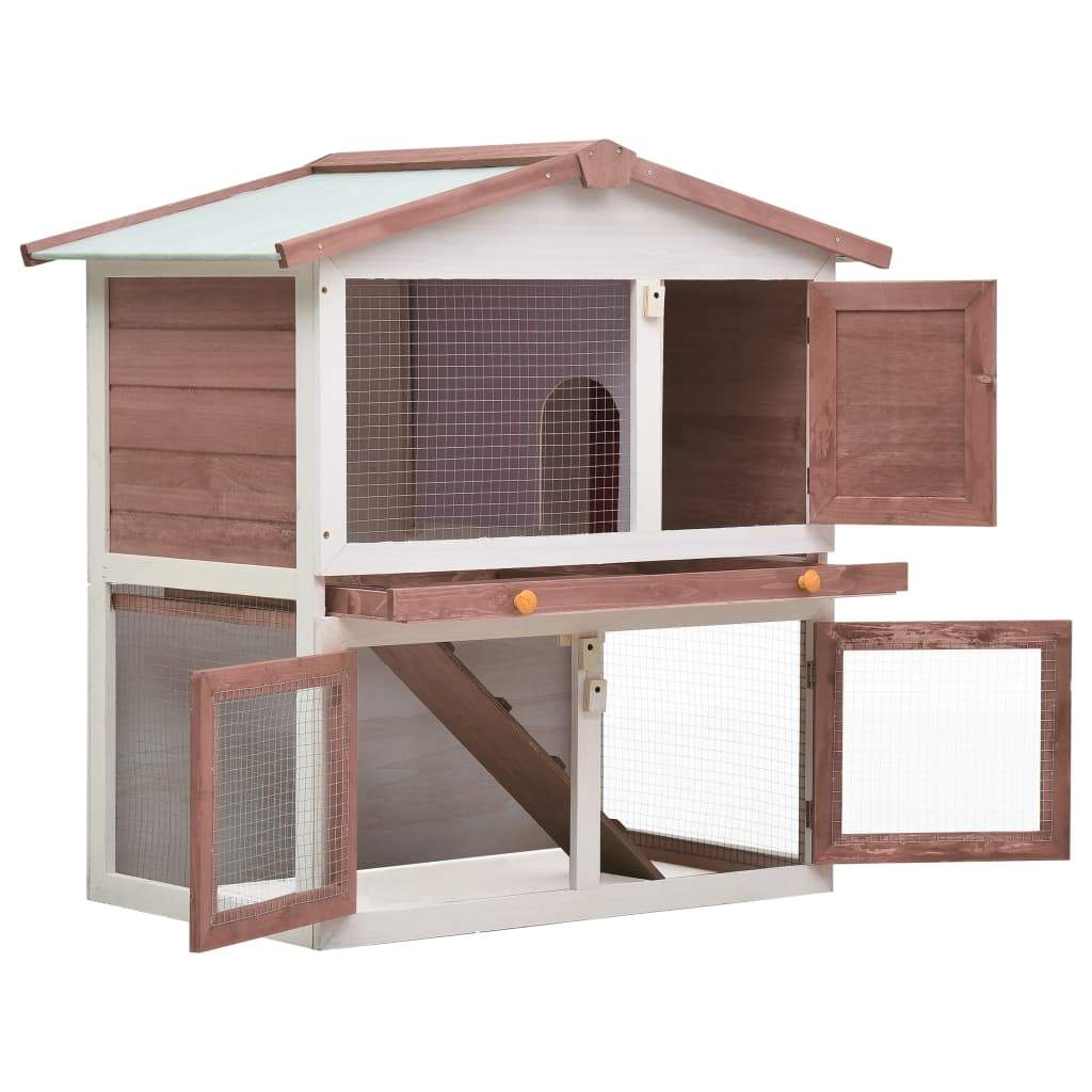 Outdoor Rabbit Hutch 3 Doors Brown Wood Easy Clean and Lock with Slide Bolt Latches Everyday Pets