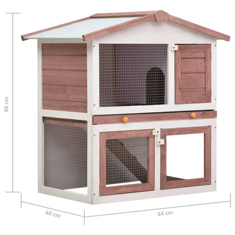 Image of Outdoor Rabbit Hutch 3 Doors Brown Wood Product Dimension Everyday Pets