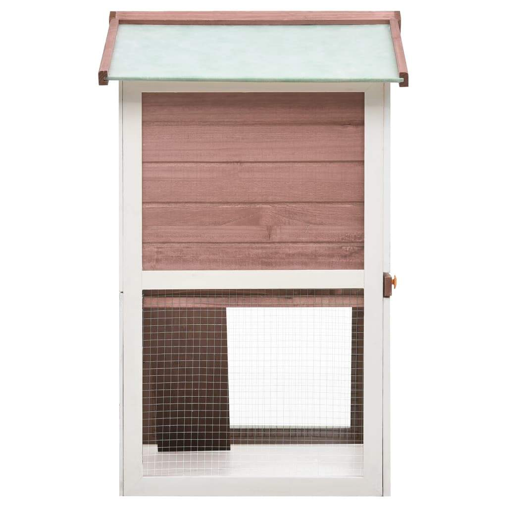 Outdoor Rabbit Hutch 3 Doors Brown Wood Powder-Coated Iron Wire Mesh Grid Everyday Pets